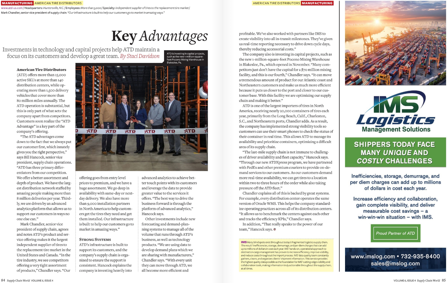 IMS LOGISTICS mentioned by American Tire Distributors (ATD) as a key service provider in their strategic direction, published in Supply Chain World Magazine's Winter 2019 Edition